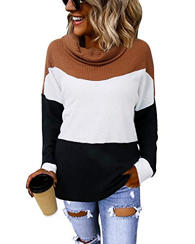 LANISEN Color Block Sweaters for Women,Fall Long Sleeve Cowl Neck Loose Pullover Knit Sweater Fashion Waffle Knit Tunic Tops Shirts Coffee XL