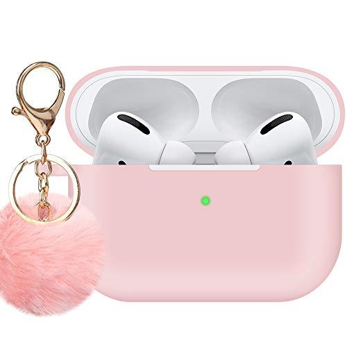 Für Airpods Pro Hülle, niedlich, weiche Silikon-Hülle mit süßem Pompon-Schlüsselanhänger-Set, stoßfest, schlanke Schutzhülle für 2019 AirPods Pro kabellose Ladehülle [Sichtbare LED] Pink