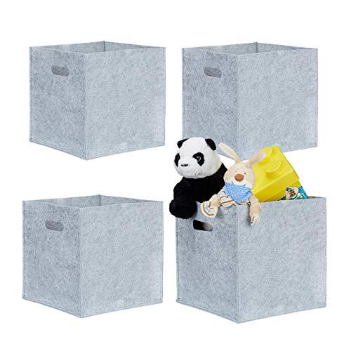 4er Set quadratische Filzkörbe, faltbar, mit 2 Trageöffnungen, schicke Regalkörbe, H x B x T: 30 x 30 x 30 cm, grau
