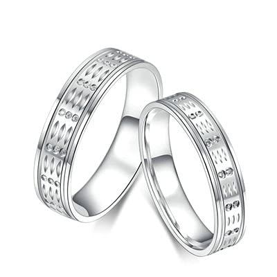 Bishilin Anillo de Oro Blanco 750 Reales, Band Anillo con Diamante 0.075ct Anillo de Compromiso de Boda Ajuste Cómodo Aniversario Cumpleaños Oro Blancotamaño: 22