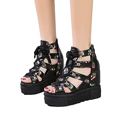 RealKing Sandales Pour Femmes Décontractées Été Nouveautés Chaussures Multicolores Romaines Sandales Pour Dames Été Décontracté Nouveau Style Romain à Talons Hauts Couleur Sandales à Bouche De Poisson