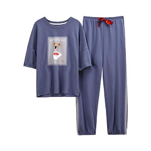 Ropa de Dormir Pijamas de Manga Corta Pantalones Largos de Bolsillo Delantero Pijamas de Estilo Casual para Mujeres