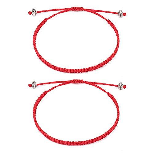 Cheerslife Rotes Armband für Damen Herren Kabbala Schutz Armband Glück Amulett Freundschaft Passende Armbänder für Paare Familie