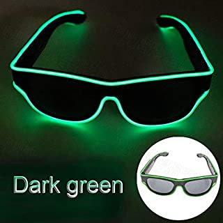 Wireless LED Luminous Glasses USB Rechargeable LED Light Up Eyeglasses Rave Party Glowing Sunglasses (Dark Green)