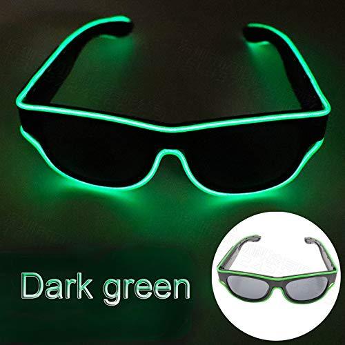 Glaray Kabellos LED Leuchtend Brille USB Wiederaufladbar LED Light Up Brillen Rave Party Leuchtende Sonnenbrille (Dunkelgrün)
