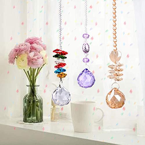 Atrapasol de Cristal Arcoíris, 3 Piezas Colgante de Prisma de Bola de Crista Feng Shui Suncatcher Bolas para Colgar para Jardín de Casa Decoración en Hogar