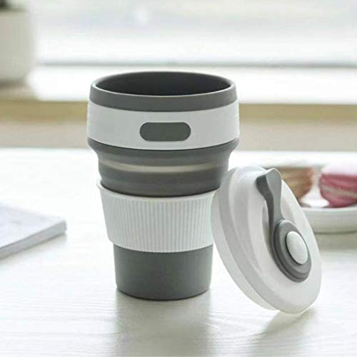 折りたたみカップ 携帯シリコンカップ 350ml 耐熱コーヒーカップ 蓋付き トラベルカップ アウトドア 旅行 出張 自宅用 食洗機対応 FDA認定 BPAなし (ブラック)