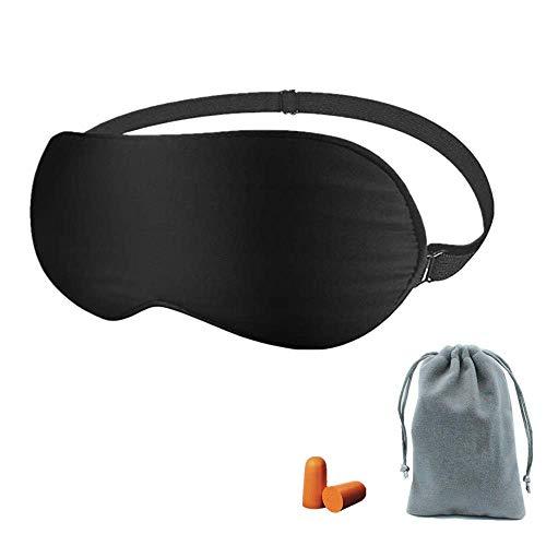 Joyguard Máscara para Dormir, Seda Natural+Puro de Algodón Relleno Con Tapón de Oído y Negro - 3...