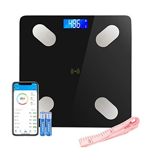 LIFE-LXC Bluetooth Báscula de Baño- Smart Báscula de baño ultrafina para medir la grasa corporal. Analizador con% de grasa corporal, IMC, edad, peso y altura (negro)-180kg/400lb