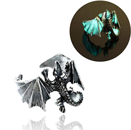 18mm Adjustable Vintage Glow in the Dark Luminous Dragon Rings for Men Women Rings (Antique Silver Blue and green)