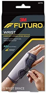 Futuro Reversible Splint Wrist Brace, Moderate Stabilizing Support, Adjust to Fit, Black and Gray