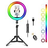 Ownaco Selfie Ringlicht mit Stativ,10 Zoll 15 Farbe 10 Helligkeitsstufen 1000 Lumen 128 LED Licht ABS Material Blitzgeräte für Selfie, Vlog,Live Übertragung,Tiktok