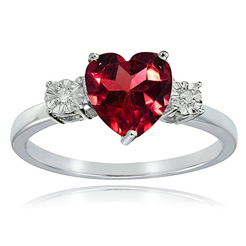 Ice Gems Sterling Silver Created Ruby Red and Heart Ring, Size 6