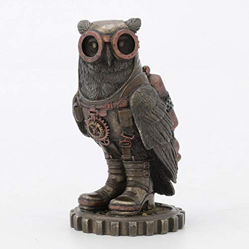 Steampunk Owl with Goggles Figurine Decor, 3 3/4 Inch (H)