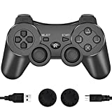 PS3 Controller, Wireless Bluetooth Gamepad Double Vibration 6-Axis Remote Joystick for Playstation 3 with Charging Cord (Black)