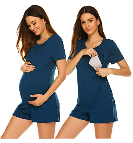 Ekouaer Nursing Maternity Nightgown for Women Pregnancy Sleep Shirts for Breastfeeding