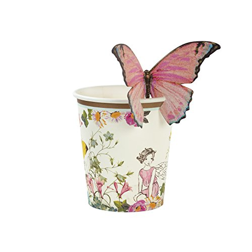 Talking Tables Truly Fairy Paper Party Cups with Butterfly Trim-Pack of 12, Mixed colors