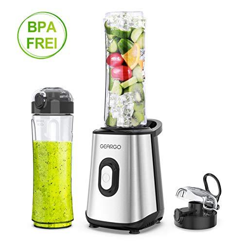 GEARGO Mixer Smoothie Maker, Mini Standmixer, Multifunktion Elektrischer Entsafter, 300 Watt Shake Mixer mit 2 BPA-freie & spülmaschinenfeste Tritan Trinkflaschen + Deckel(600ml)