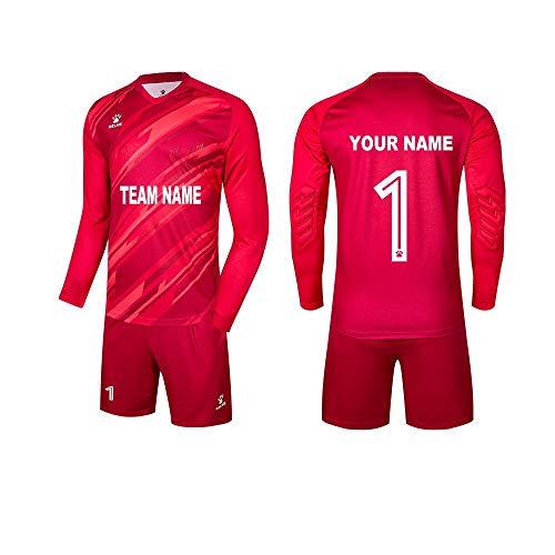 KELME Customize Padded Soccer Goalie Jersey Goalkeeper Shorts, Youth Matching Uniform Long Sleeve Bundle, Adult Keeper Kit Shirts Pants Socks Futsal Set Women Red Small