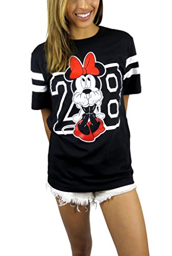 Disney Womens Minnie Mouse Varsity Football Tee Large Black