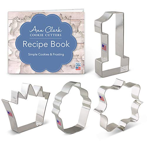 Ann Clark Cookie Cutters 4-Piece First /1st Birthday Cookie Cutter Set with Recipe Booklet, Number 1, Square Plaque, Cupcake