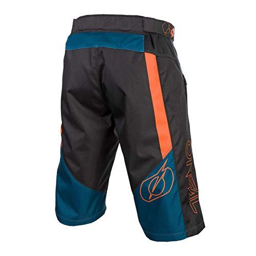 O'Neal | Pantalones de Ciclismo de montaña | MTB Mountain Bike DH Downhill FR Freeride | Durable Mesh Material, Stretch Inserts | Element FR Shorts Hybrid | Adult | Petrol Orange | Talla 38/54