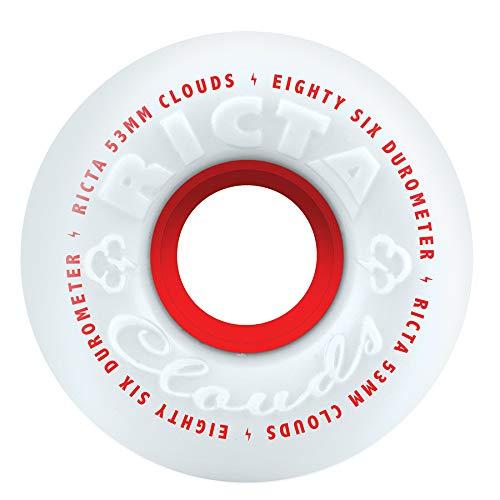 Ricta Clouds Skateboard-Rollen, 4 Stück, weiß/Rot, 53 mm