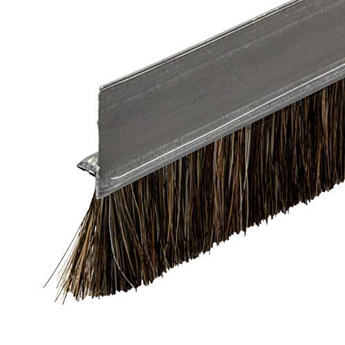 Gedotec Bürstendichtung Tür-Bürste Streifenbürste Schiene Türbodendichtung mit dichten Besatz | Türdicht-schiene Länge 2000 mm | Türdichtung Stahl-Blech - Rosshaar Natur | 1 Stück - Türdichter Bürste
