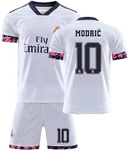 LLM Soccer Suit Men Boy's 2020 Real Madrid #10 Luka Modric Fans Football Jersey Set, (Color : White, Size : X-Large)