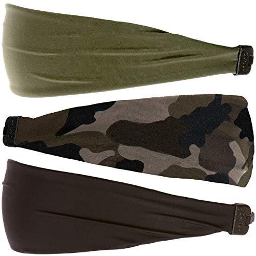 Hipsy可调弹性印花Xflex宽发带,适合女性和青少年(3pk黑色/迷彩/橄榄色)