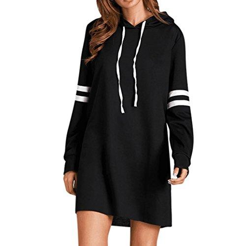 Kleid Damen Kolylong® Frauen Elegant Gestreift Pullover Kleid mit Kapuze Herbst Hoodie Sweatshirt Lange Loose Mantel Sportkleid Langarm Shirt Tops (L, Schwarz)