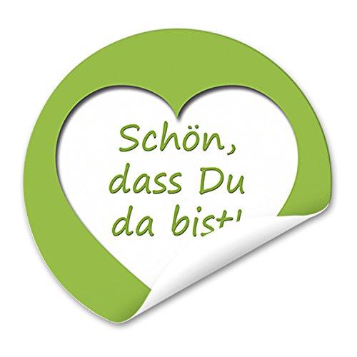 96 runde hellgrün weiß grün Aufkleber HERZ SCHÖN DASS DU DA BIST Text 4 cm selbstklebende Sticker Etiketten für Hochzeit Taufe Kommunion Fest Geburtstag Verpackung Deko Gastgeschenke give-away