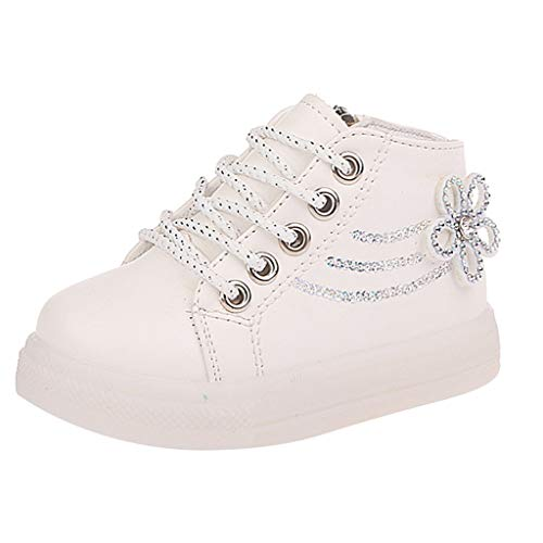 Best Deals! Kauneus Toddler Girls Fashion Lace Up Side Zipper High Top Sneakers Short Boot Rhineston...