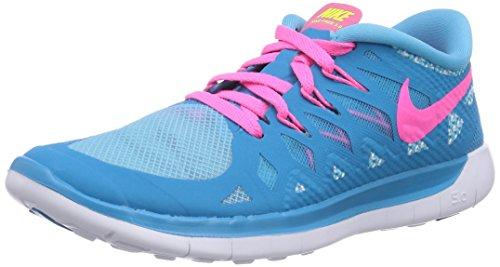 Nike Unisex-Kinder Free 5.0 Laufschuhe, Blau (Blue Lagoon/Pink Pow-White-VLT), 35.5 EU