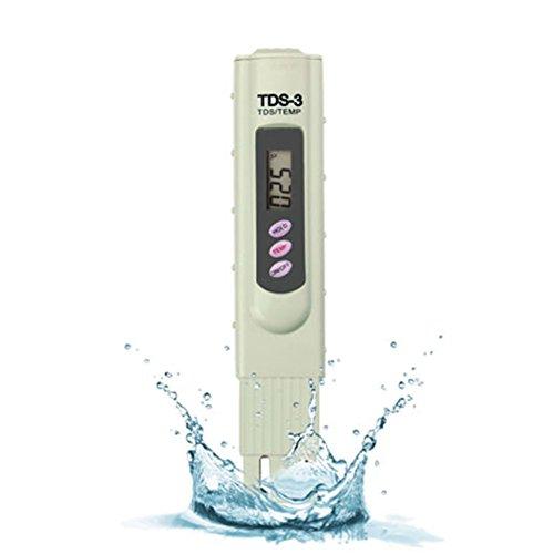 Wasserqualität Tester Digital TDS Meter Set TDS-3 3-in-1 Wasserqualität Reinheit Tester Premium Handheld Qualität Wasser Testgerät Messgerät mit Schützender Koffer 0-9990 ppm Messbereich(Beige)