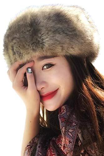 Zinmuwa Sombrero del Estilo Ruso De La Venda de la Piel Sintética del Invierno Earwarmer Earmuff Sombrero Ruso Café One Size