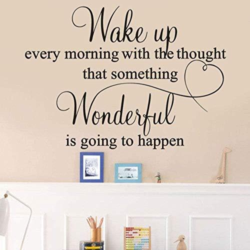 Muurtattoo, voor slaapkamer, decoratie, wandafbeelding, elke ochtend met de gedachte dat een kamer prachtig is, PVC, 57 x 40 cm