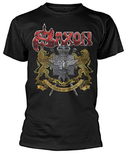 Saxon '40 Years' (Black) T-Shirt (Large)