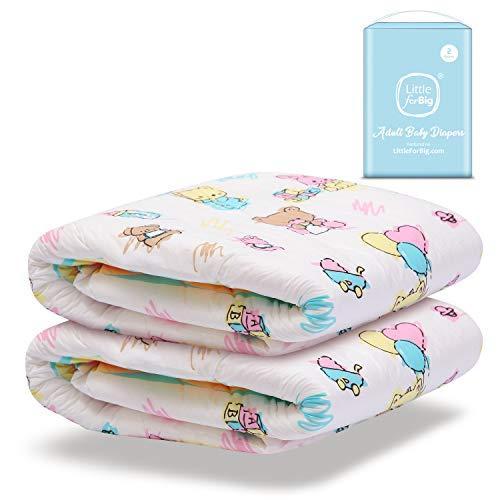 LittleForBig gedruckt Erwachsenen Slip Windeln Erwachsene Baby Windel Liebhaber ABDL 2 Stück-Baby Cuties M