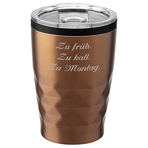 Metmaxx® Thermobecher Office Cup Aroma 380 ml Kupfergold mit Rund-Gravur Edelstahl verschließbar