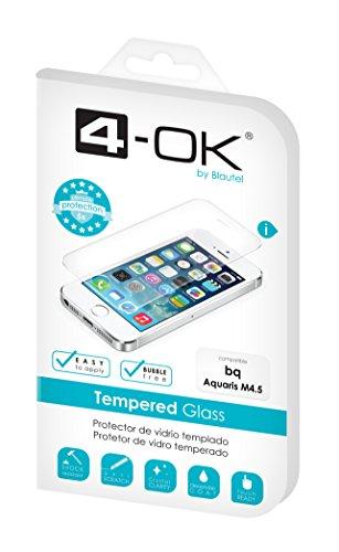 4-OK PRGBM4 - Protector de pantalla de vidrio templado para bq Aquaris M 4.5, transparente