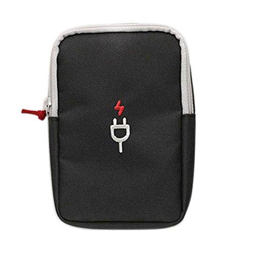 Vikenner Elektronik Zubehör Tasche Rechteckig Kabel Organizer Handliche mit Mezzanine Netz aus Oxford-Tuch für Reise Gadgets Travel Organizer Dunkelgrau