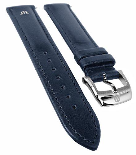 Maurice Lacroix Eliros Elegant | Kalbsleder Uhrenarmband, dunkelblau, versenktes Emblem 33355, Stegb