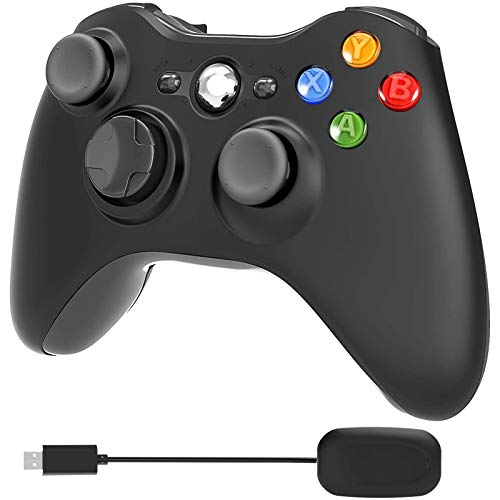 YCCTEAM Wireless Controller für Xbox 360, 2.4GHz Enhanced Dual Vibration Xbox 360 Game Controller mit Receiver Remote Gamepad für PC/Xbox 360 (Windows XP/7/8/10)-Schwarz, Keine Audio-Buchse