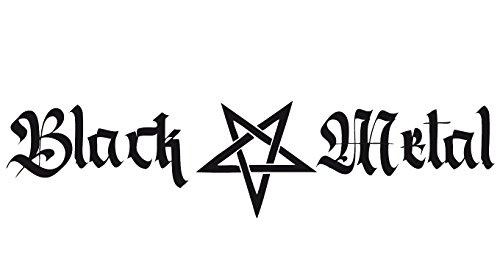 Black Metal Pentagramm (lang) Heckscheibenaufkleber, 58cm | Farbe: weiß | Black Metal Autoaufkleber für die Heckscheibe