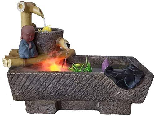 Living Equipment Tischbrunnen Desktop-Brunnen Indoor Kleine Mönch Wasserlandschaft Buddha-Kulturbrunnen Dekoration Ornamente Home Zen-Kulturdekorationen Geschäftsgeschenke für Tisch Büro mit Atom