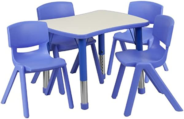 Flash Furniture 21 875 W X 26 625 L Rectangular Blue Plastic Height Adjustable Activity Table Set With 4 Chairs