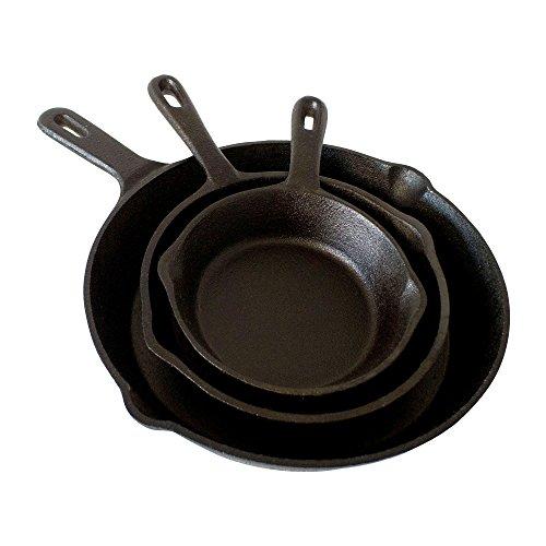 ToCis Big BBQ Gusseisen Pfannen-Set | 3 x Bratpfannen (Ø12/16/21cm) rund mit Griff für alle Herdarten | Brat- und Universalpfannen