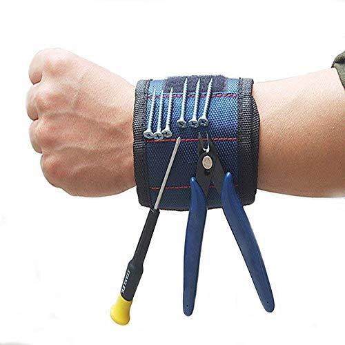 Pulsera magnética con 10 potentes imanes para sujetar herramientas, clavos, pernos, brocas, puntas de perforación, puntas de destornillador el mejor regalo para bricolaje, hombres y mujeres