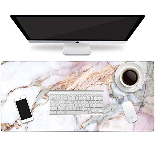 HAOCOO Desk Pad, Office Desk Mat 35.4' ×15.7' Large Gaming Mouse Pad Durable Extended Computer Mouse Pad Water-Resistant Thick Writing Pads with Non-Slip Rubber Base for Office Home ,Colorful Marble